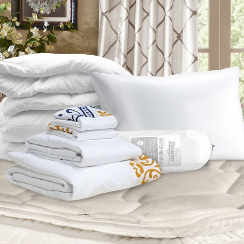 Combo Almohada + Protector Impermeable + Juego Forro Duvet + Plumón